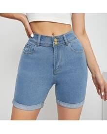 ROMWE Roll Hem Skinny Denim Shorts