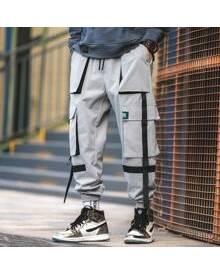 ROMWE Guys Ribbon Flap Pocket Cargo Pants