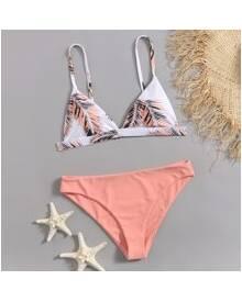 ROMWE Tropical Print Bikini Swimsuit