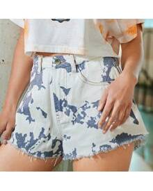 ROMWE Tie Dye Raw Hem Denim Shorts