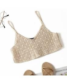ROMWE Solid Crochet Crop Cami Top