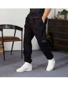 ROMWE Guys Flap Pocket Drawstring Waist Cargo Pants