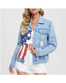 ROMWE American Flag Print Flap Pocket Ripped Detail Denim Jacket