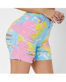 ROMWE Tie Dye Ripped Raw Hem Denim Shorts
