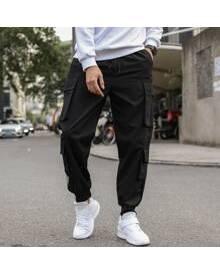 ROMWE Guys Flap Pocket Solid Cargo Pants