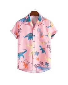 ROMWE Guys Random Dinosaur Print Shirt