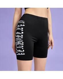 ROMWE Letter Biker Shorts