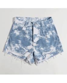 ROMWE Tie Dye Distressed Denim Shorts