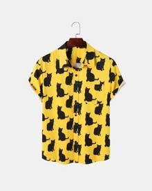 ROMWE Guys Allover Cat Button Through Shirt