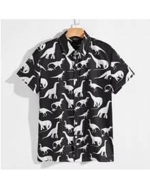 ROMWE Guys Dinosaur Print Button Up Shirt