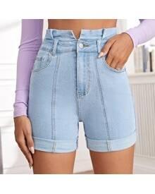 ROMWE Paperbag Waist Roll Hem Slant Pocket Denim Shorts