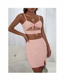 ROMWE Knot Front Cut Out Cami Top With Skirt Lounge Set