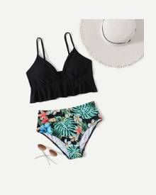 ROMWE Tropical Pattern Bikini Swimsuit
