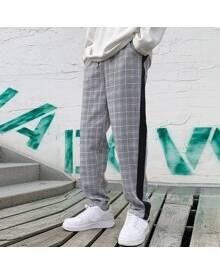 ROMWE Guys Plaid Contrast Tape Drawstring Waist Pants