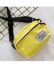 ROMWE Guys Minimalist Letter Patch Crossbody Bag