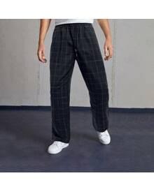 ROMWE Guys Plaid Top-stitching Drawstring Pants