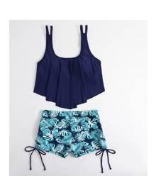 ROMWE Tropical Print Ruffle Bikini Swimsuit