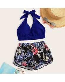 ROMWE Tropical Halter Shorts Bikini Swimsuit