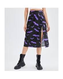 ROMWE Bat Print Split Skirt
