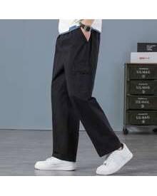 ROMWE Guys Solid Flap Pocket Cargo Pants