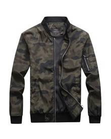 ROMWE Guys Camo Print Zip Up Jacket