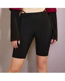 ROMWE Solid Biker Shorts