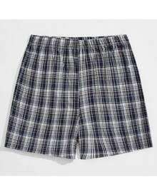 ROMWE Guys Plaid Elastic Waist Lounge Shorts