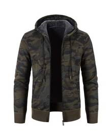 ROMWE Guys Camo Print Teddy Lined Hooded Cardigan Without Tee