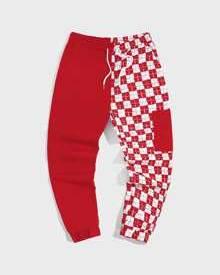 ROMWE Guys Contrast Plaid Pocket Drawstring Pants