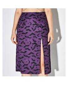 ROMWE Bat & Moon Print Split Skirt