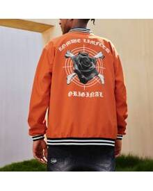 ROMWE Guys Floral & Skeleton Graphic Button Front Baseball Jacket