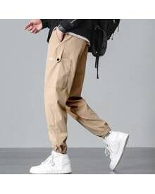 ROMWE Guys Patched Side Pocket Cargo Pants