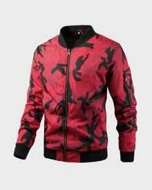 ROMWE Guys Camo Print Zip Up Bomber Jacket