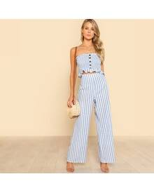 Shirred Ruffle Hem Strapless Top & Pants Set