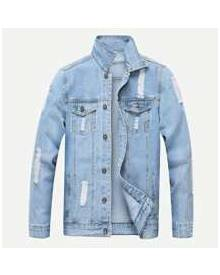 ROMWE Guys Ripped Solid Denim Jacket