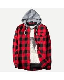 Guys Gingham Hooded Shirt