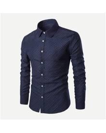 ROMWE Guys Polka Dot Print Shirt