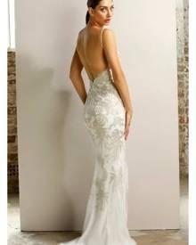 Jadore JX1028 Silver & Ivory Lace Midi Formal Dress