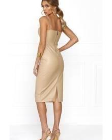 Honey Couture VIXEN Nude Vegan Leather Bodycon Dress