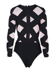 Honey Couture NICKI Black & Pink Long Sleeve Bandage Bodysuit