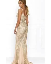 Honey Couture BRIELLE Gold Sheer Sequin w Sheer Insert Evening Gown Dress