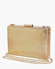 One Honey Boutique Honey Couture MISHA Gold Chainmail Box Clutch Bag