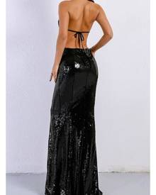 Honey Couture MONICE Black Cut Out Halter Neckline Sequin Formal Gown Dress