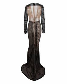 Honey Couture PETRA Black Crochet Sheer Long Sleeve Formal Gown Dress