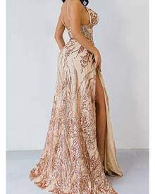 Honey Couture ABBY Gold Mermaid Sequin Formal Gown Dress