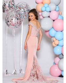 Jadore Junior Girls JR04 Dusty Pink Lace Mermaid Dress