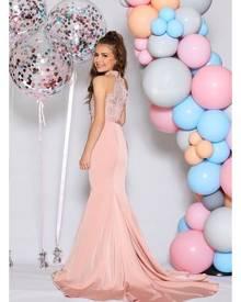 Jadore Junior Girls JR06 Dusty Pink Lace Halterneck Mermaid Dress
