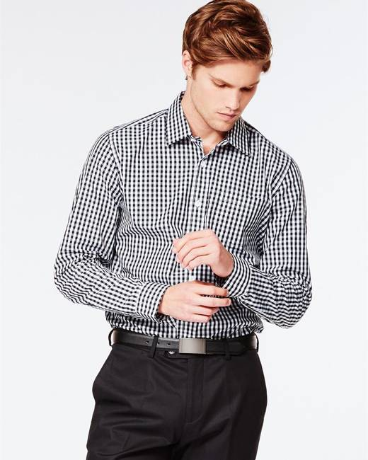 Hallensteins Men's Check Business Shirt in Black