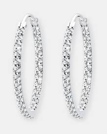 Elli Jewelry - Earrings 925 Sterling Silver Glamor Hoop Swarovski® Crystals - Jewellery (white) Earrings 925 Sterling Silver Gla