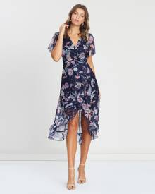 Atmos&Here - ICONIC EXCLUSIVE   Verona Wrap Dress - Printed Dresses (Midnight Floral) ICONIC EXCLUSIVE - Verona Wrap Dress